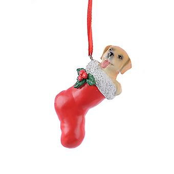 TRIXES hond Red Stocking Xmas keramische Ornament