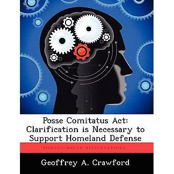 Posse Comitatus Act Klärung ist notwendig zur Unterstützung Landesverteidigung von Crawford & Geoffrey A.