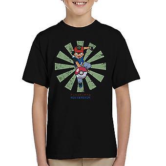 Ash Ketchum retro japanilainen Pokemon lasten T-paita