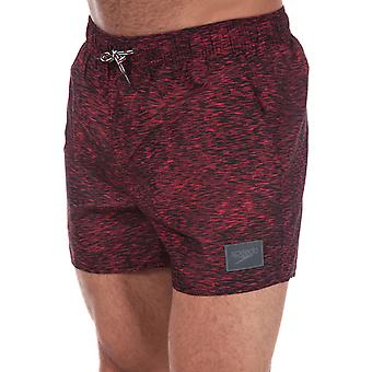 Mens Speedo Casual Print 14� Swim Shorts In Black Red- Ribbed Waistband- Pockets