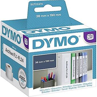 DYMO Label roll 99018 S0722470 38 x 190 mm Paper White 110 pc(s) Permanent Lever arch file labels
