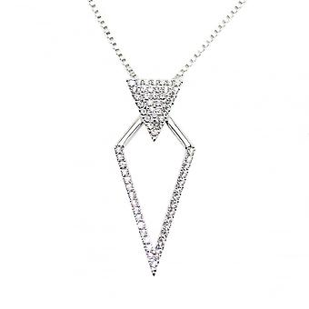 VIP Silver Plated Crystal Set Diamond Shape Pendant And Chain