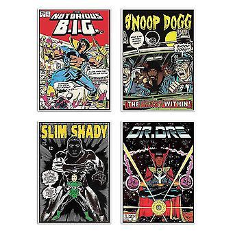 4 Art-Posters 20 x 30 cm - Rappers Comics - David Redon 20 x 30 cm