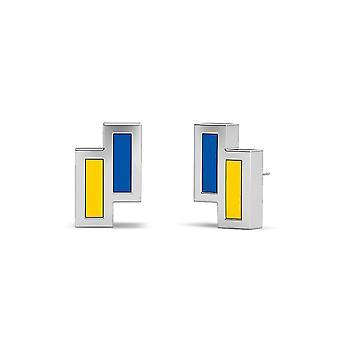 Brincos de esmalte assimétricos da Universidade de Delaware em azul e amarelo