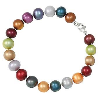 Eternal Collection Mayfair Multi Coloured Freshwater Pearl Sterling Silver Bracelet