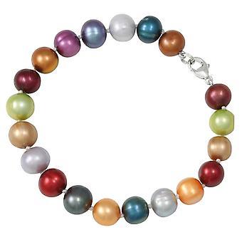 Eterna coleção Mayfair Multi colorido pulseira de prata pérola de água doce