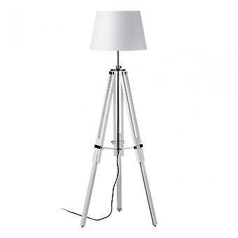 Premier Home Jasper Floor Lamp - EU Plug, Fabric, White