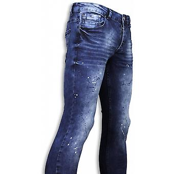 Jeans - Slim Fit Paint Drops Jeans - Blauw