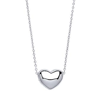 Jewelco Londen dames rhodium plated Sterling Silver Bubbly 3D Love hart Charm Necklace