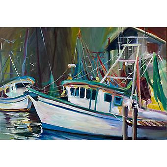 Carolines Treasures  JMK1058PLMT Joe Patti Shrimp Boat Fabric Placemat