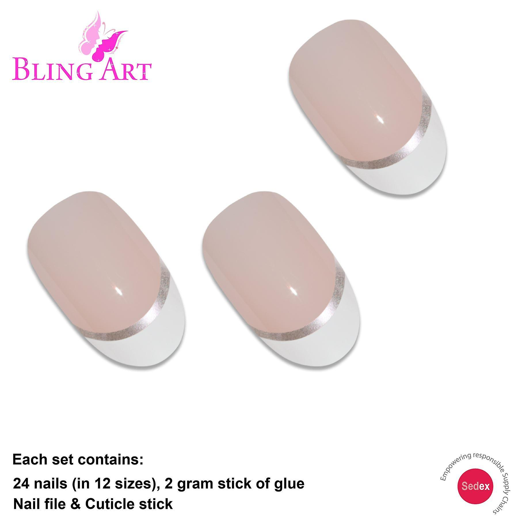 False nails by bling art white french polished oval medium fake 24 nail tips