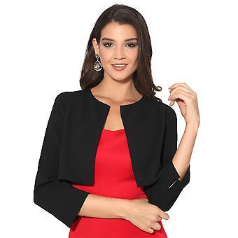 KRISP Womens Ladies Crop Open Fit Blazer Bow Back Evening Jacket Wedding Bolero Shrug