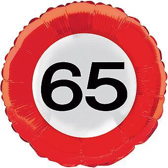 Folienballon Verkehrsschild 65 Geburtstag Verkehrszeichen circa 45cm