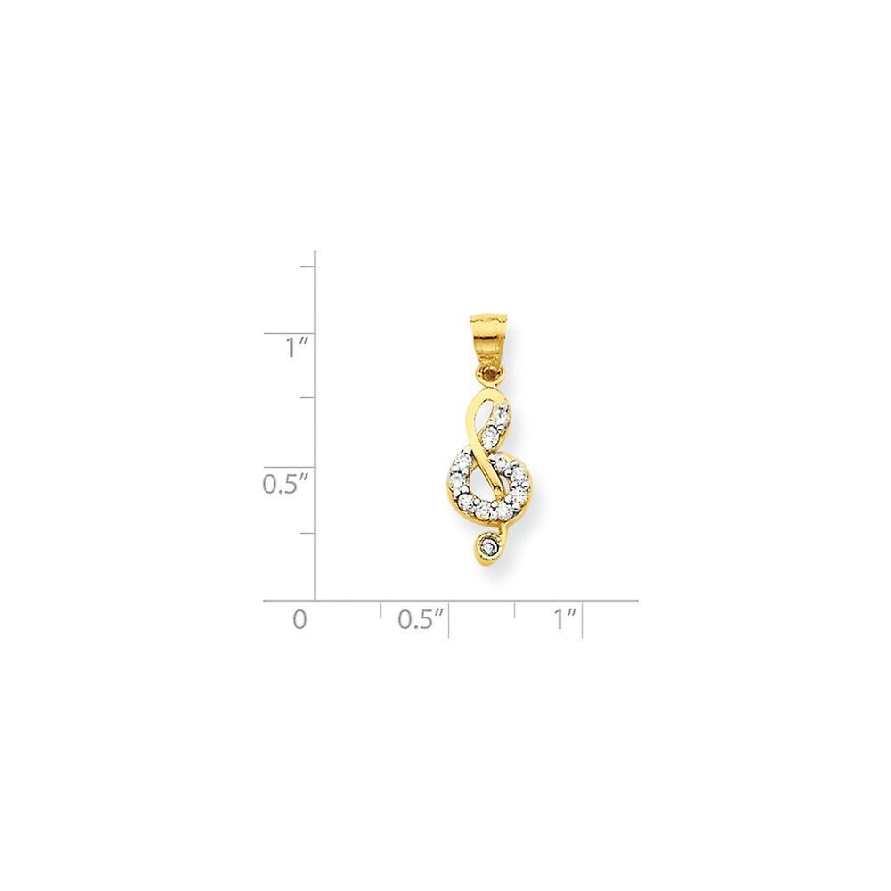 10 k Gelbgold poliert CZ Zirkonia simuliert Diamant Treble Clef Charm Anhänger Halskette Schmuck Geschenke für Frauen
