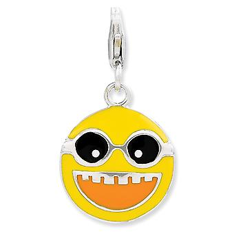 925 Sterling Silver Rhodium plated Fancy Lobster Closure Enameled Happy Face With Lobster Clasp Charm Pendant Necklace J