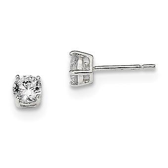 925 Sterling Silver Post Boucles d'oreilles Panier réglage 5mm CZ Cubic Zirconia Simulated Diamond Stud Boucles d'oreilles Bijoux Bijoux pour