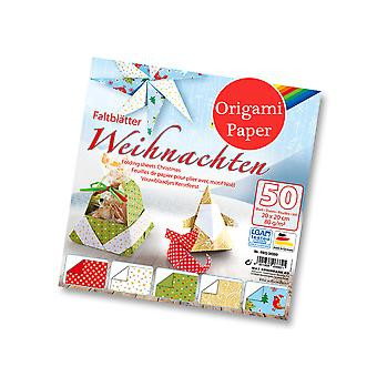 50 Sheets Square Christmas Print Origami Paper - 20cm