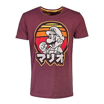 Super Mario T shirt retro japanska logo nya officiella Nintendo mens Red