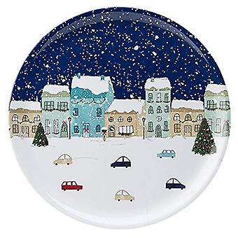 Foxwood Home Winter Scene Round Tray