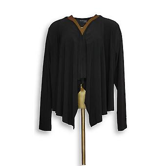 Attitudes by Renee Women's Top Solid Cardigan Black A306555