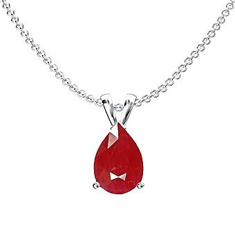 Dazzlingrock Collection 14K 8x6 mm Pear Cut Ruby Ladies Solitaire Pendant (Silver Chain Included), White Gold