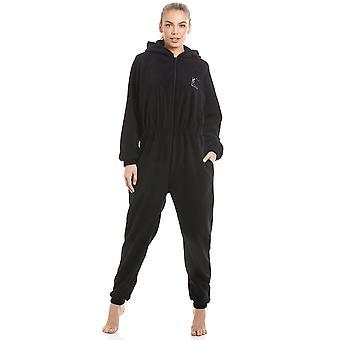 Camille Womens Black Supersoft Fleece Zip avant capuche Onesie