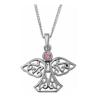 Celtic Eternity Knotwork Angel And Wings Necklace Pendant Large - Pink Cubic Zirconia Stone - Inclut 18'quot; Chaîne