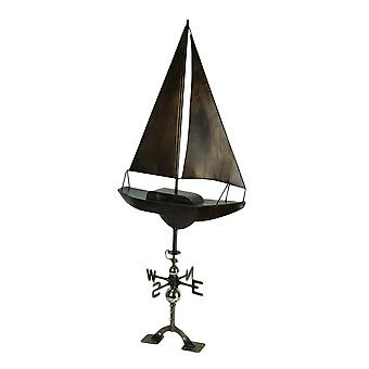 Antique Copper Finish Metal Sailboat Weather Vane with Roof Mount