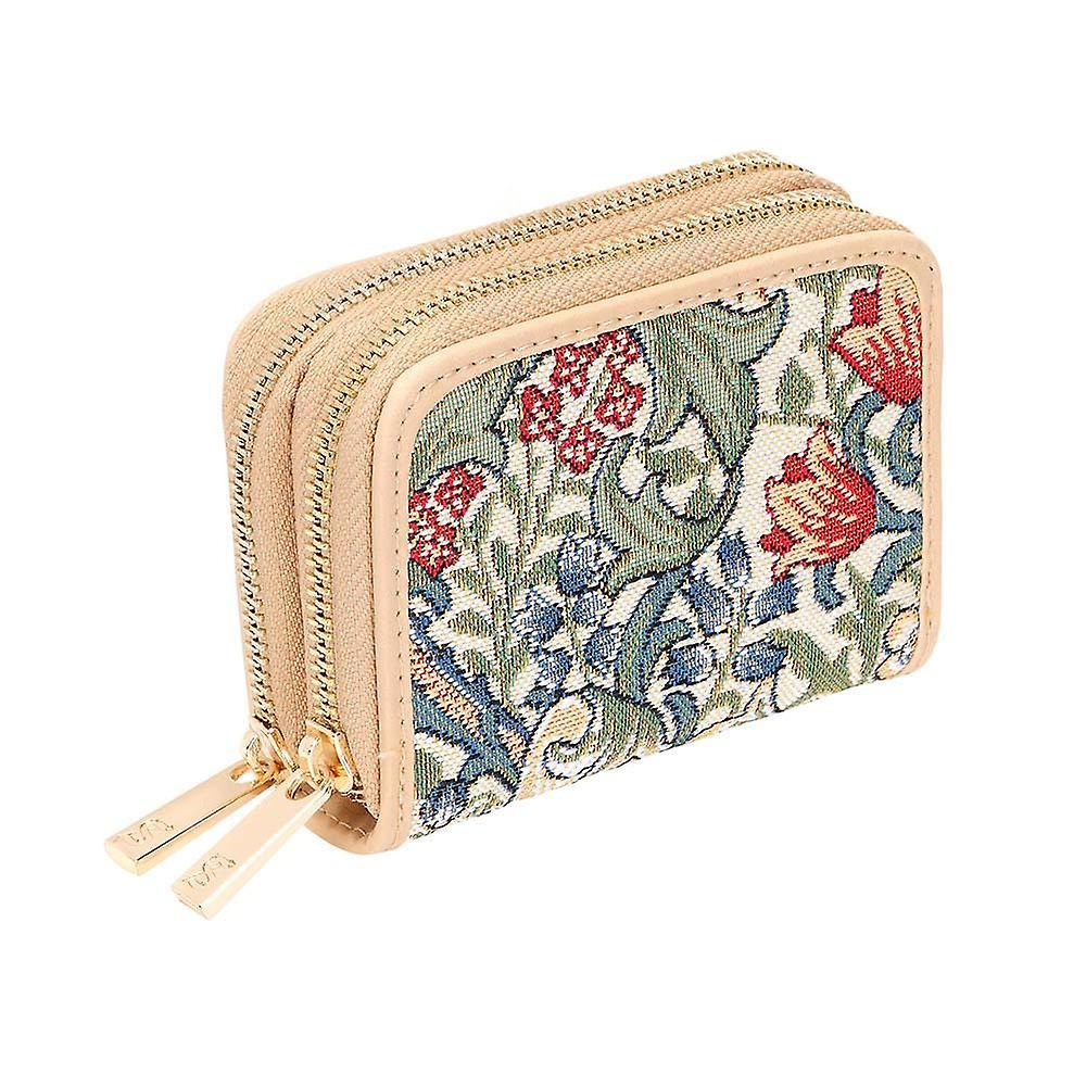 William morris - golden lily double-zip rfid money purse by signare tapestry / dzip-glily