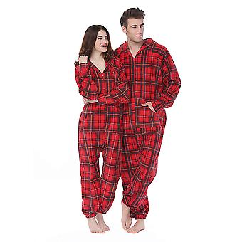 Adult Unisex Plaid Hooded Adult Onesie Pajamas Plus Size Fleece Warm Jumpsuit