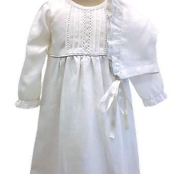 Doop jurk met Dophätta I uit witte Lin, genade van Zweden