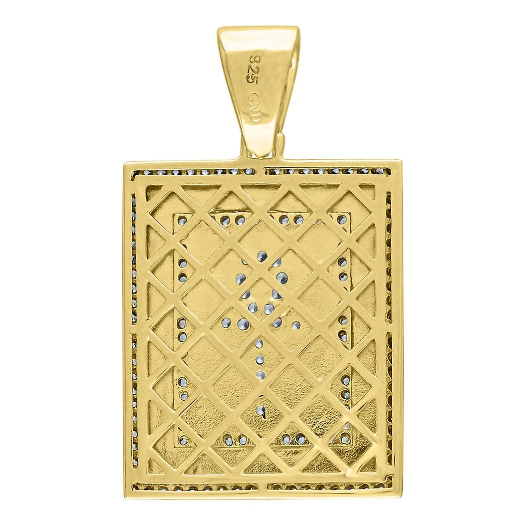 925 Sterling Silver Yellow CZ Cubic Zirconia Simulated Diamond Nugget Ankh Rectangular 15.01gm Mens Charm Pendant Neckla