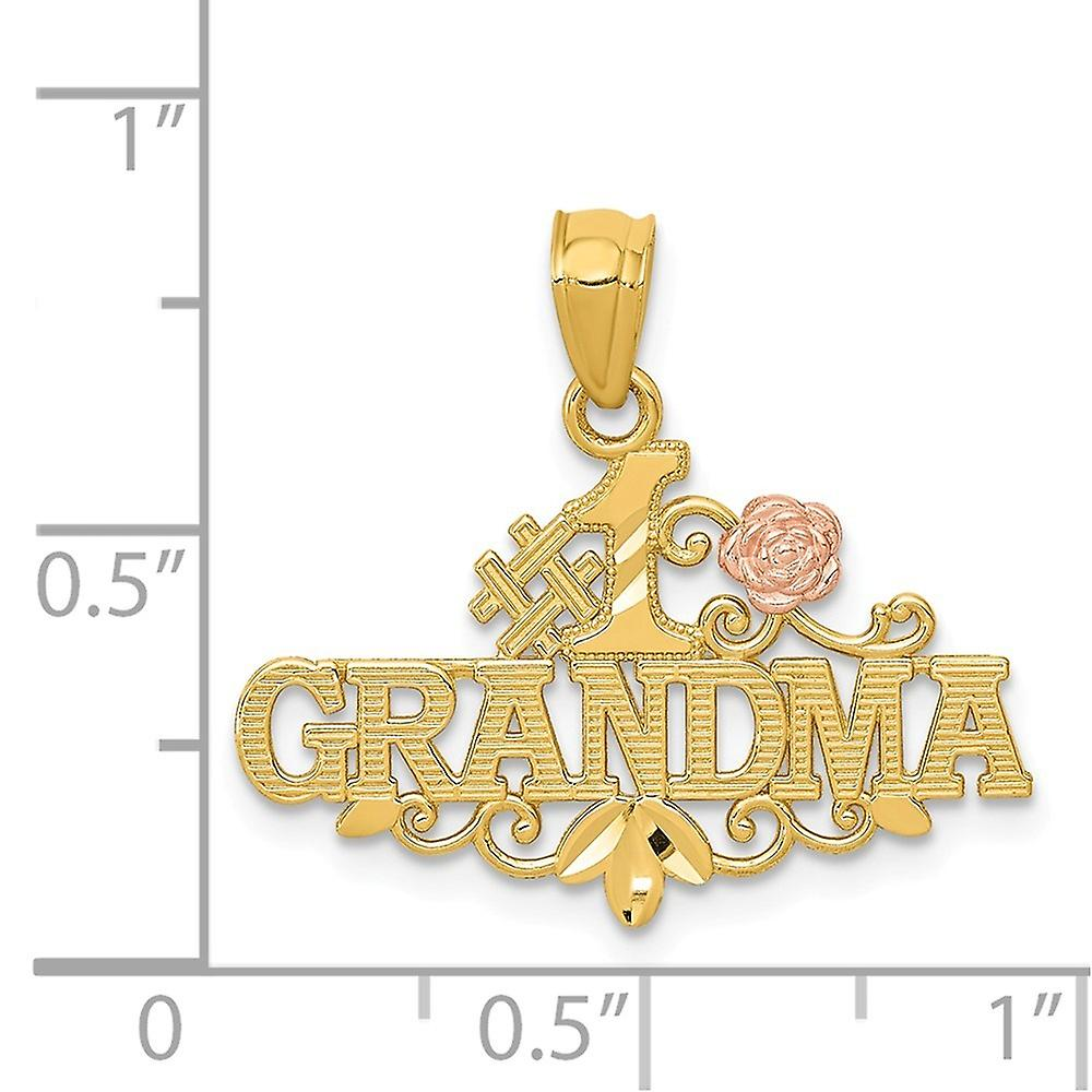 22.38mm 14k Yellow and Rose Sparkle Cut Number 1 Grandma With Rose Pendant Necklace Jewelry Gifts for Women