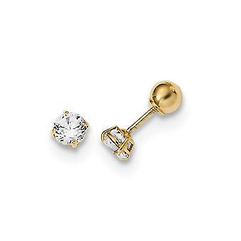 14k Madi K Gepolijst Omkeerbare Bal en CZ Cubic Zirconia Gesimuleerde Diamond Oorbellen Sieraden Geschenken voor vrouwen
