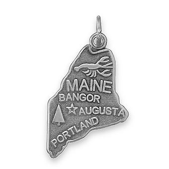 Welcome To Pine Tree State! Oxidized 925 Sterling Silver Maine State Charm Pendant Necklace 15mm X 29mm Jewelry Gifts fo