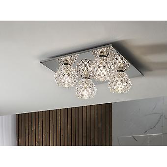 Schuller Hestia II - Ceiling lamp of 4 lights made of metal, chrome finish. Pressed clear glass shades. - 956450