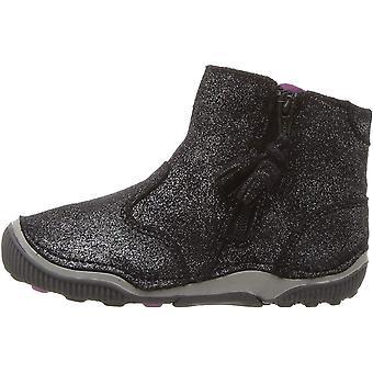 Kids Stride Rite Girls SRT Zoe black sparkle Leather Ankle Zipper Chelsea Boots
