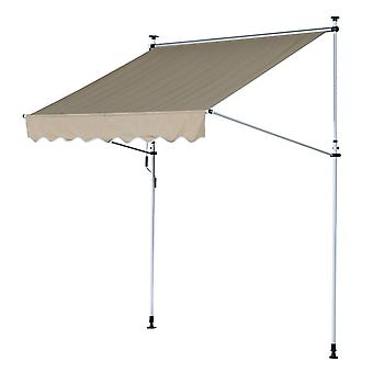 Outsunny 200 x 150cm Manual Awning Adjustable Height Angle Floor-To-Ceiling Shade Frame Beige