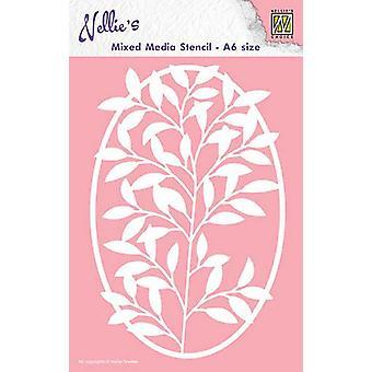 Nellie & apos;s اختيار A6 استنسل الوسائط المختلطة - البيضاوي إطار زهرة فرع