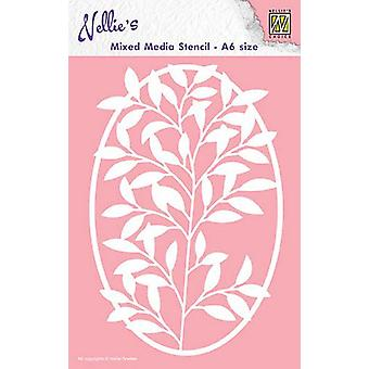 Nellie's Choice Mixed Media Stencils A6 Oval Frame flower-branch MMSA6-005 A6