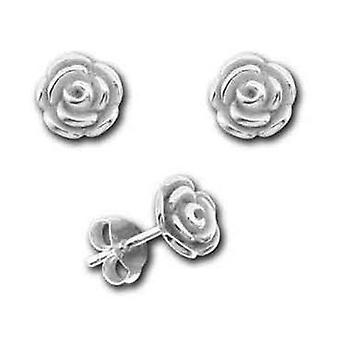 TOC Girls Sterling Silver 3D Rose Stud Earrings 7mm