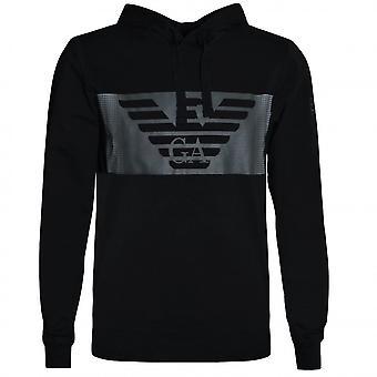 EA7 Emporio Armani Men's Black Hooded Sweat Top