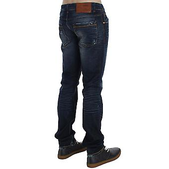 Blue wash-cotton- denim slim fit jeans