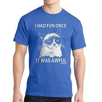 Norse kat één kleur leuke mannen Koningsblauwen grappig T-shirt