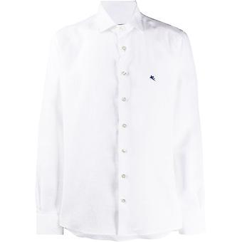 Etro 1k52667010990 Men's White Linen Shirt