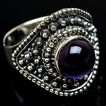 Amethyst Ring Size 9 (925 Sterling Silver)  - Handmade Boho Vintage Jewelry RING7667