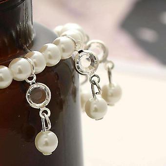 Perła i kryształowa bransoletka kostki z akcentami na srebro lub złoto