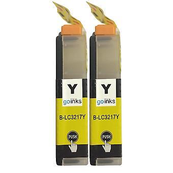 2 cartouches d'encre jaune pour remplacer Brother LC3217Y Compatible/non OEM par Go Inks
