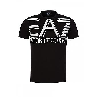 EA7 by Emporio Armani Cotton Pinted Logo Black T-shirt