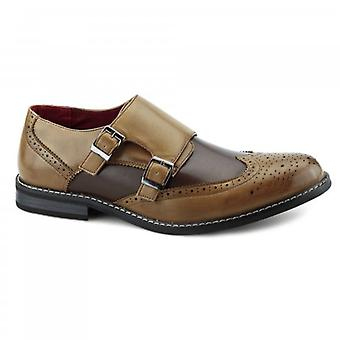Giovanni Cristiano Mens Double Monkstrap Brogues Tan/brown